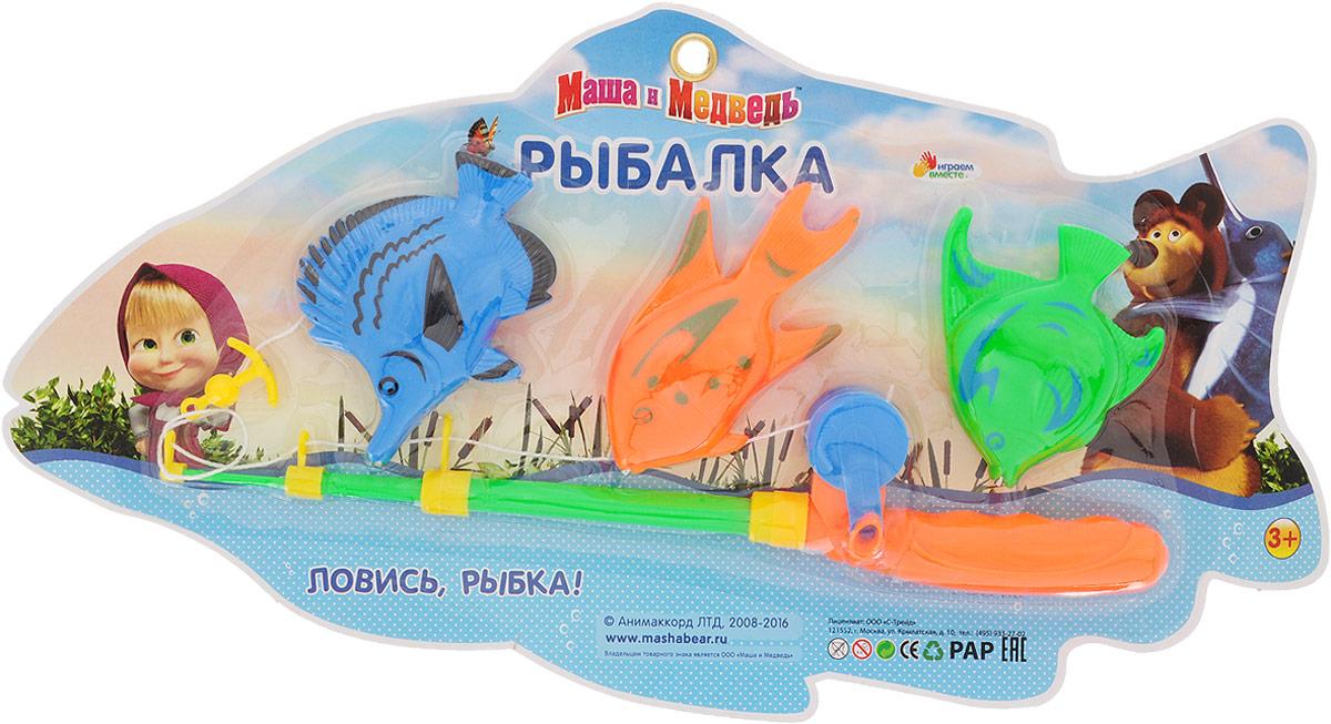 Играем вместе Игрушка для ванной Рыбалка Маша и Медведь цвет удочки салатовый оранжевый Играем вместе