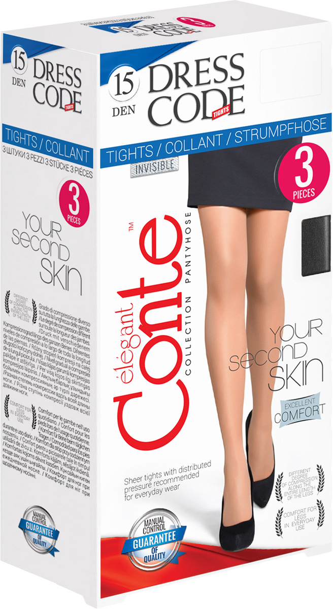 Колготки женские Conte Elegant Dress Code 15, цвет: Nero (черный). Размер 4 conte conte колготки тонкие class графит