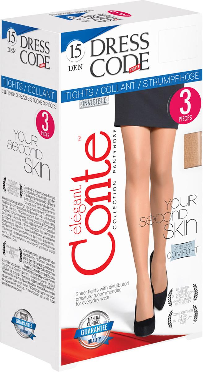 Колготки женские Conte Elegant Dress Code 15, цвет: Beige (бежевый). Размер 3Dress Code 15Тонкие матовые колготки без блеска в практичной упаковке. Идеальное решение для офиса.