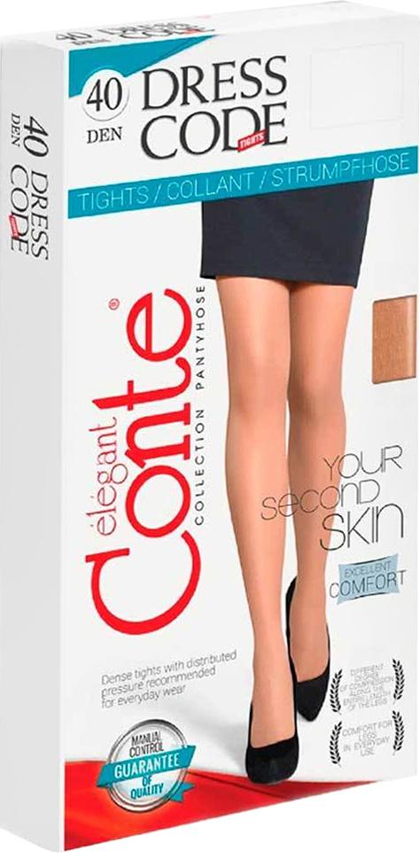 Колготки женские Conte Elegant Dress Code 40, цвет: Bronz (коричневый). Размер 4Dress Code 40Плотные матовые колготки без блеска в практичной упаковке. Идеальное решение для офиса.