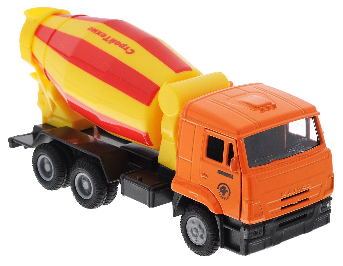 ТехноПарк Бетономешалка инерционная КамАЗ цвет желтый красный оранжевый технопарк машинка инерционная цвет красный
