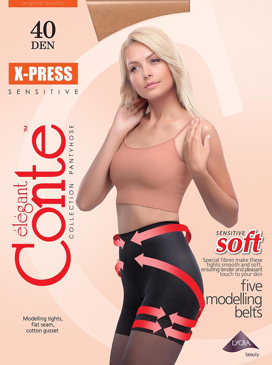 Колготки женские Conte Elegant X-Press 40, цвет: Bronz (коричневый). Размер 5X-Press 40Плотные моделирующие колготки с плоским швом, хлопковой ластовицей.