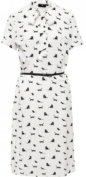 Платье Finn Flare, цвет: молочный. S17-32025_711. Размер XL (50)S17-32025_711Платье Finn Flare выполнено из вискозы. Модель с короткими рукавами оформлена оригинальным принтом.
