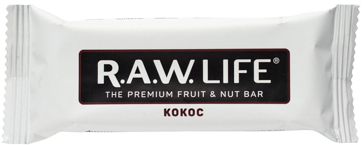 RAWLife Кокос батончик орехово-фруктовый, 47 г pikki мюсли кокос кешью шоколад батончик орехово фруктовый 50 г