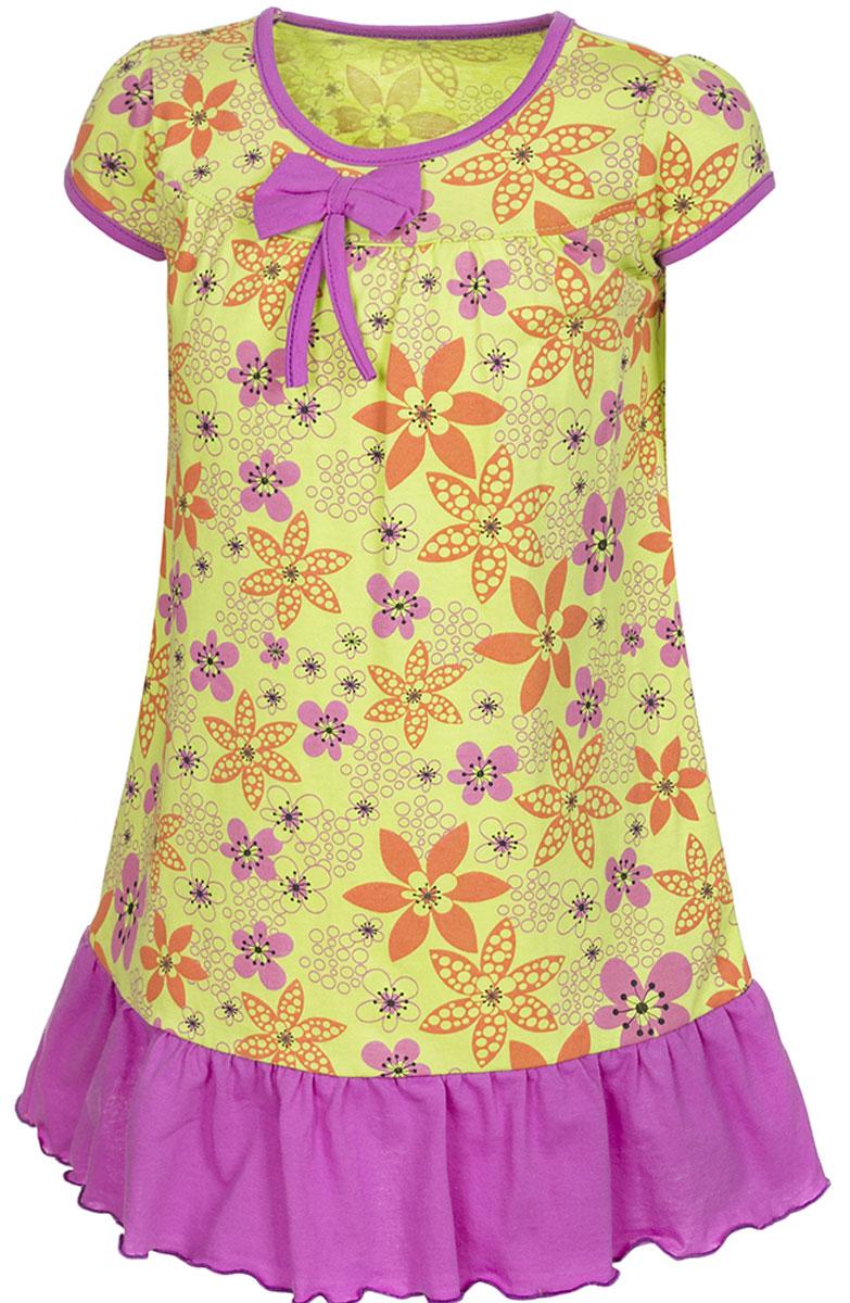 Платье для девочки M&D, цвет: салатовый, фуксия. ПЛ7030114. Размер 104ПЛ7030114Платье для девочки M&D станет отличным вариантом для прогулок на свежем воздухе. Изготовленное из мягкого хлопка, оно тактильно приятное, хорошо пропускает воздух. Платье с круглым вырезом горловины и короткими рукавами дополнено мелким ярким принтом. По подолу платье оформлено рюшами, а вырез горловины и края рукавов обшиты бейкой. На груди платье украшает текстильный бант.Рюши, бейка и бант имеют однотонный яркий цвет, делая дизайн еще более радостным и узнаваемым.