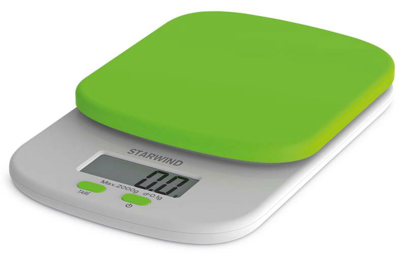 Starwind SSK2155, Green весы кухонныеSSK2155Кухонные электронные весы Starwind SSK2155 - незаменимый помощник современной хозяйки. Они помогут точно взвесить любые продукты и ингредиенты. Кроме того, позволят людям, соблюдающим диету, контролировать количество съедаемой пищи и размеры порций. Предназначены для взвешивания продуктов с точностью измерения 1 грамм.