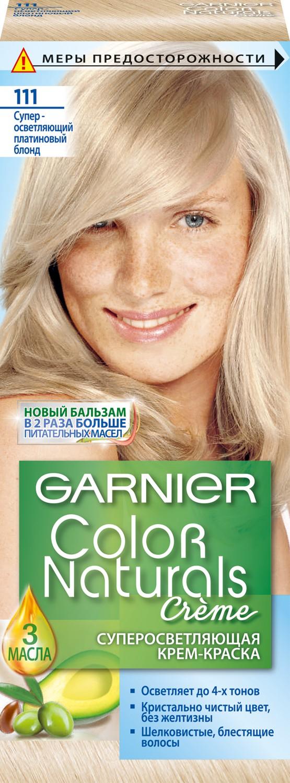 Garnier Стойкая питательная крем-краска для волос Color Naturals, оттенок 111, Платиновый блондC2971025Крем-краска Garnier Color Naturals содержит масла оливы, авокадо и карите, которые питают волосы во время окрашивания. В результате цвет получается насыщенным и стойким, а волосы становятся мягкими и шелковистыми. 100% закрашивание седины.Узнай больше об окрашивании на http://coloracademy.ru/.В состав упаковки входит: флакон с молочком-проявителем (60 мл); тюбик с обесцвечивающим кремом (40 мл); 2 упаковки с обесцвечивающим порошком (2,5 г); крем-уход после окрашивания (10 мл);инструкция; пара перчаток.
