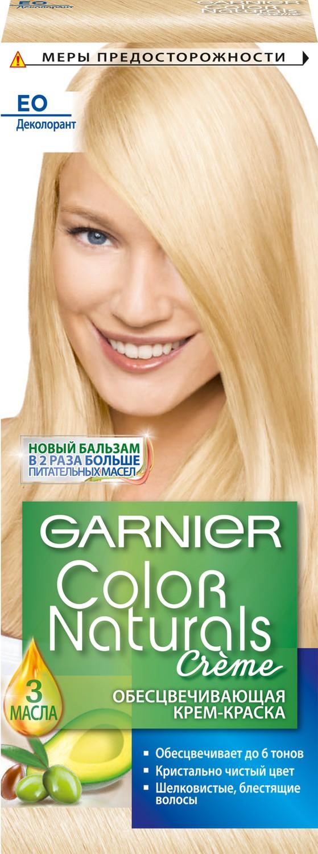 Garnier Стойкая питательная крем-краска для волос Color Naturals, оттенок E0, Супер блондC1319525Крем-краска Garnier Color Naturals содержит масла оливы, авокадо и карите, которые питают волосы во время окрашивания. В результате цвет получается насыщенным и стойким, а волосы становятся мягкими и шелковистыми. 100% закрашивание седины.Узнай больше об окрашивании на http://coloracademy.ru/.В состав упаковки входит: флакон с молочком-проявителем (60 мл); тюбик с обесцвечивающим кремом (40 мл); 2 упаковки с обесцвечивающим порошком (2,5 г); крем-уход после окрашивания (10 мл);инструкция; пара перчаток.