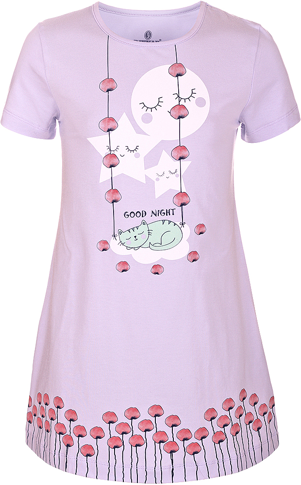 Ночная рубашка для девочки Baykar, цвет: лиловый, мультиколор. N9322216B-59. Размер 128/134N9322216B-59Ночная рубашка для девочки Baykar подарит не только комфорт и уют, но и понравится ребенку благодаря своему веселому и приятному дизайну. Изготовленная из мягкого хлопка, она тактильно приятна, хорошо пропускает воздух, а благодаря свободному крою не стесняет движений во сне.