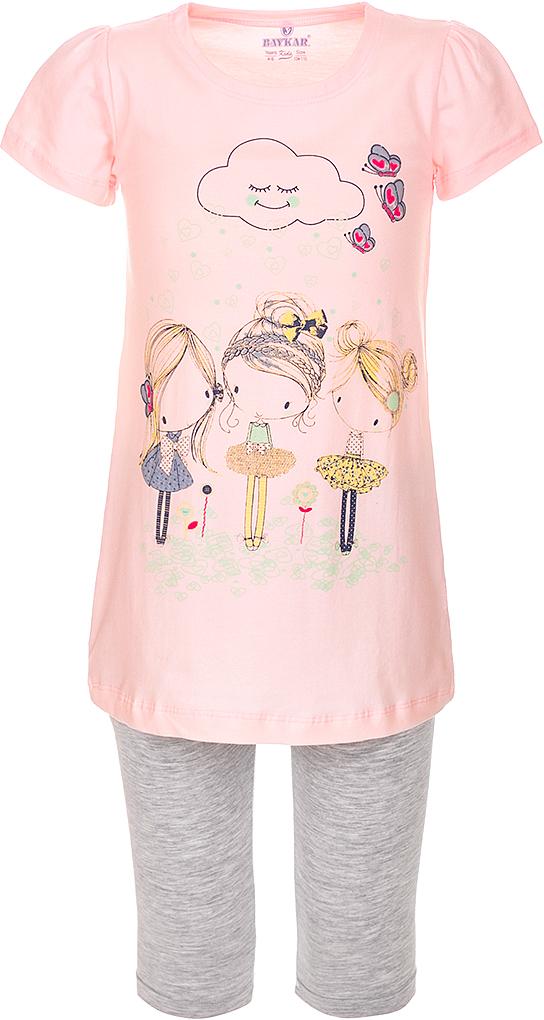 Пижама для девочки Baykar, цвет: розовый, мультиколор. N9317148A-5. Размер 104/110N9317148A-5Пижама для девочки Baykar состоит из туники и капри. Пижама выполнена из эластичного хлопка, мягкая и приятная к телу, не сковывает движения, хорошо пропускает воздух.Туника с круглым вырезом горловины и короткими рукавами оформлена забавным принтом. Капри на талии имеют мягкую резинку, благодаря чему они не сдавливают животик ребенка и не сползают.В такой пижаме маленькая принцесса будет чувствовать себя комфортно и уютно во время отдыха и сна!