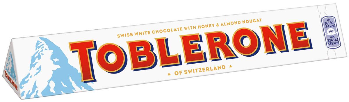Toblerone шоколад белый с медово-миндальной нугой, 100 г12568, 4010976Знаменитый швейцарский шоколад Тоблерон треугольной формы. Шоколад Toblerone известен во всем мире благодаря запатентованной треугольной форме, неизменному швейцарскому качеству и характерному сочетанию настоящего белого швейцарского шоколада, меда и миндальной нуги. Впервые шоколад под торговой маркой Toblerone начал продаваться в Швейцарии в 1908 году и очень скоро стал символом этой удивительной страны.Отличается деликатным сливочным вкусом и насыщенным ароматом.Уважаемые клиенты! Обращаем ваше внимание на то, что упаковка может иметь несколько видов дизайна. Поставка осуществляется в зависимости от наличия на складе.