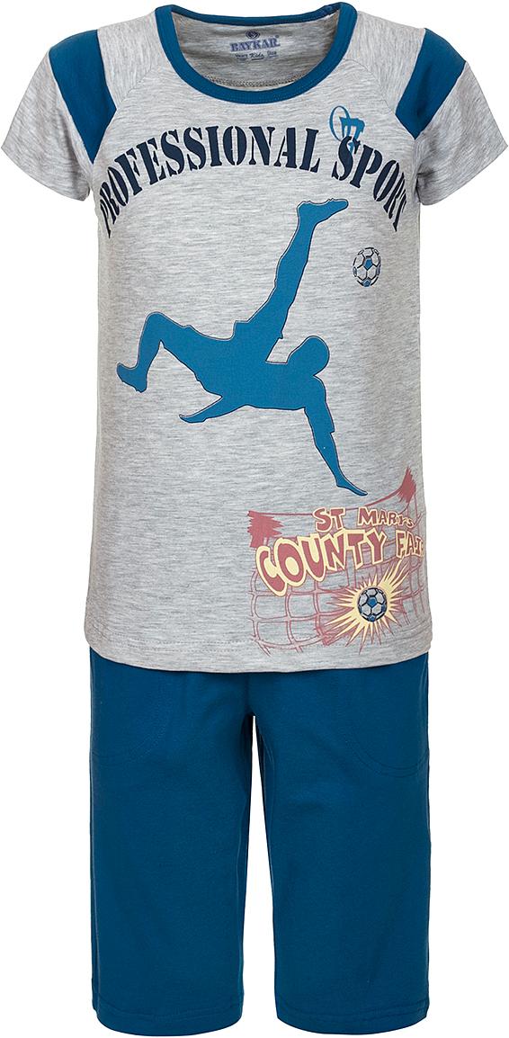 Пижама для мальчика Baykar, цвет: серый, мультиколор. N9612220A-20. Размер 104/110N9612220A-20Яркая пижама для мальчика Baykar, состоящая из футболки и шортиков, идеально подойдет вашему малышу и станет отличным дополнением к детскому гардеробу. Пижама, изготовленная из натурального хлопка, необычайно мягкая и легкая, не сковывает движения ребенка, позволяет коже дышать и не раздражает даже самую нежную и чувствительную кожу малыша. Футболка с короткими рукавами и круглым вырезом горловины спереди декорирована принтом. Шортики прямого кроя однотонного цвета на широкой эластичной резинке не сдавливают животик ребенка и не сползают.В такой пижаме ваш маленький непоседа будет чувствовать себя комфортно и уютно во время сна.