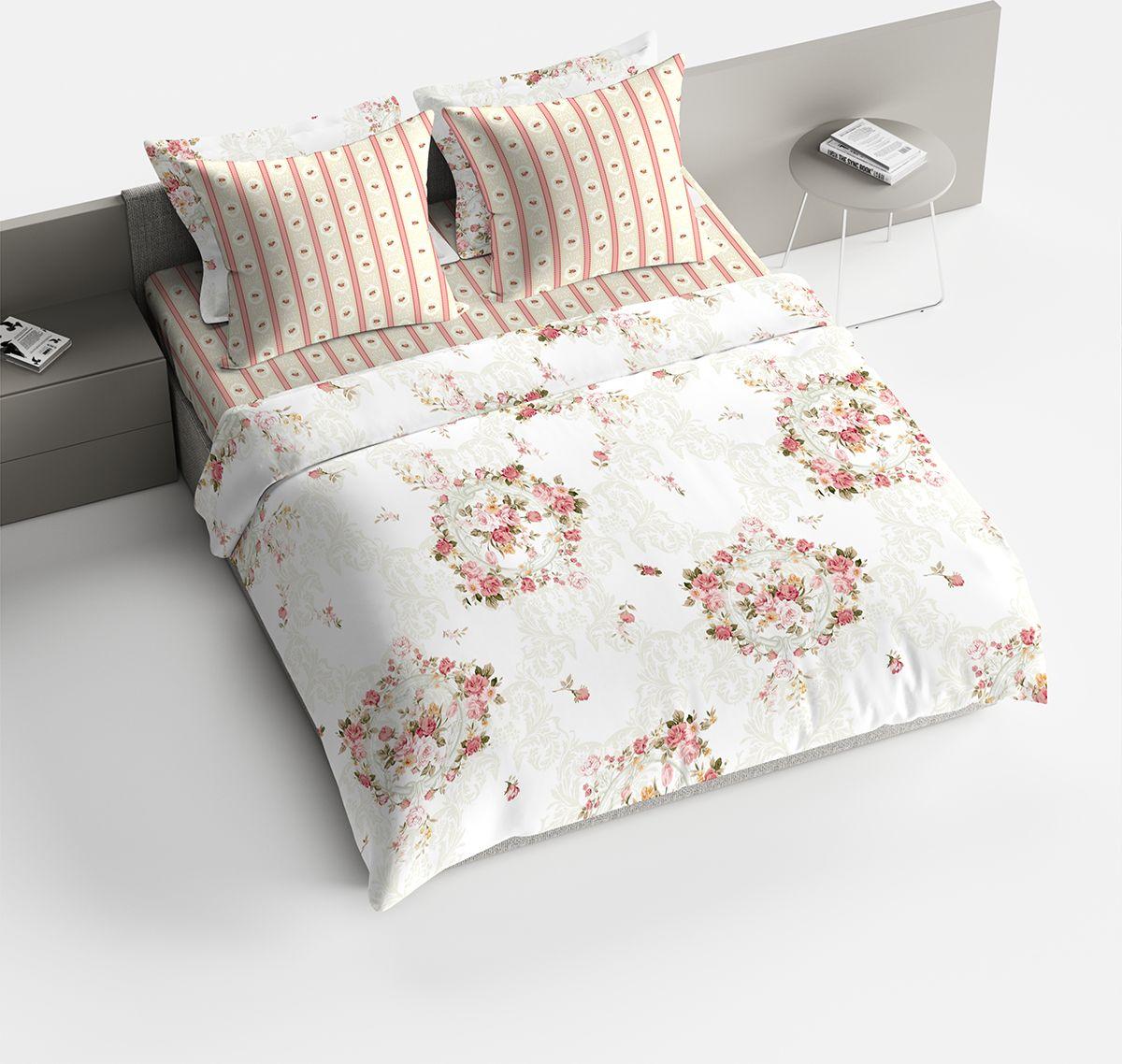 Комплект белья Bravo Пробуждение, 2-спальный, наволочки 70x70, цвет: персиковый. 1842-1 комплект семейного белья василиса нежная роза 4172 1 70x70 c рб