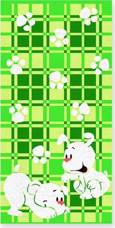 """Полотенце """"Щенки"""" выполнено из натуральной махровой ткани (100% хлопок). Изделие отлично впитывает влагу, быстро сохнет, сохраняет яркость цвета и не теряет форму даже после многократных стирок.  Полотенце очень практично и неприхотливо в уходе. Оно создаст прекрасное настроение и украсит интерьер в ванной комнате."""
