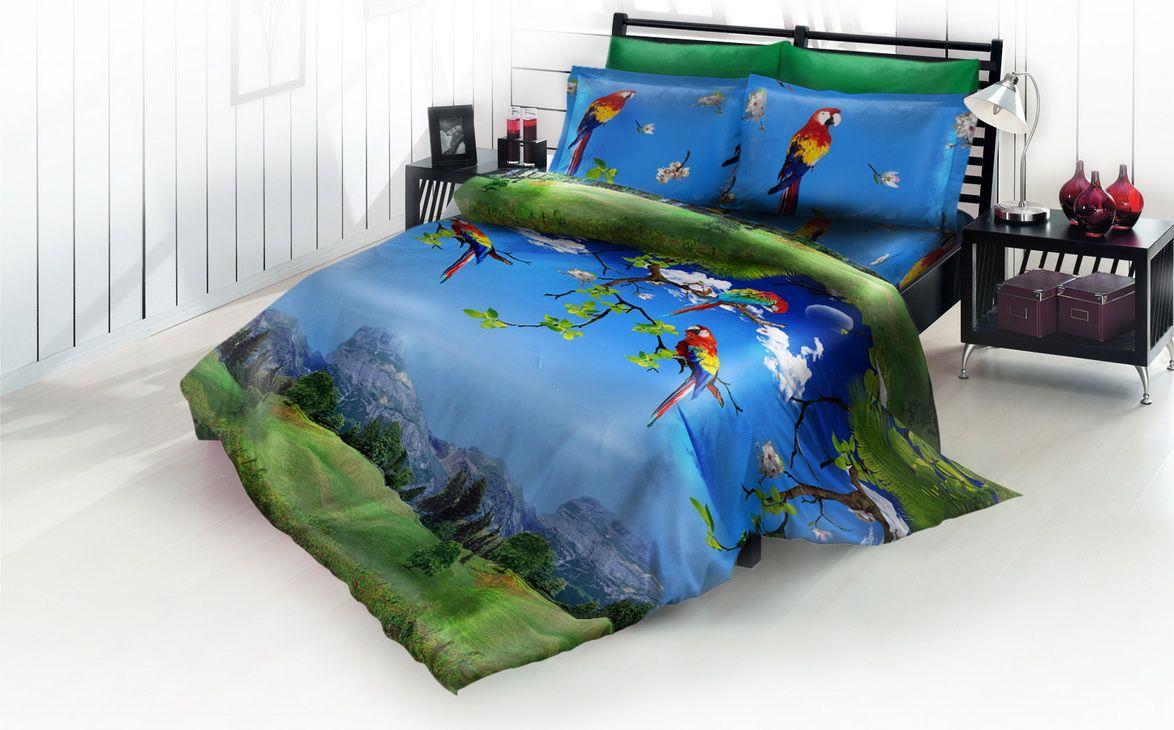 Комплект белья DP Romance Лориина, 1,5-спальное, наволочки 70x70, цвет: синий