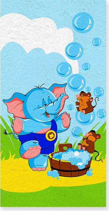 Полотенце махровое ВТ Забавный слоник, цвет: синий, 60 х 120 см. м1052_0173100