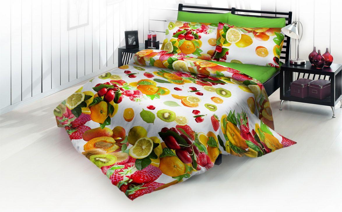 Комплект белья DP Romance Фрукты, 1,5-спальное, наволочки 70x70, цвет: разноцветный