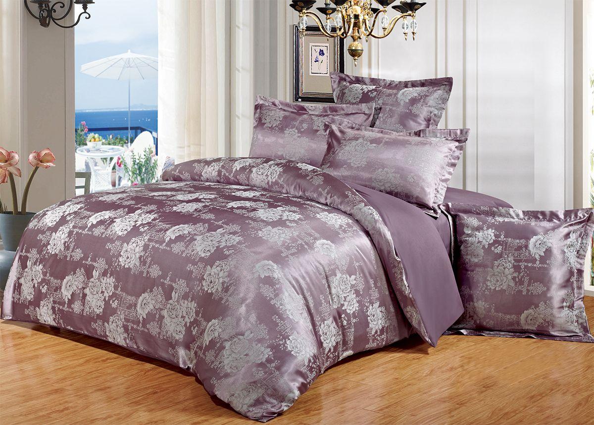 Комплект белья Versailles Шерон, cемейный, наволочки 50x70, цвет: фиолетовый75374Комплект постельного белья Versailles изготовлен из сатина, сотканного из хлопка с добавлением вискозных волокон. Белье дарит приятные тактильные ощущения на протяжении всего сна, а уникальные жаккардовые узоры придают танки мягкий блеск и обеспечивают материалу особую прочность. Постельное белье Versailles - отличный подарок на любое торжество и идеальный выбор для взыскательных покупателей. Комплект состоит из двух пододеяльников, простыни и четырех наволочек. Состав: хлопок 70%, вискоза 30%