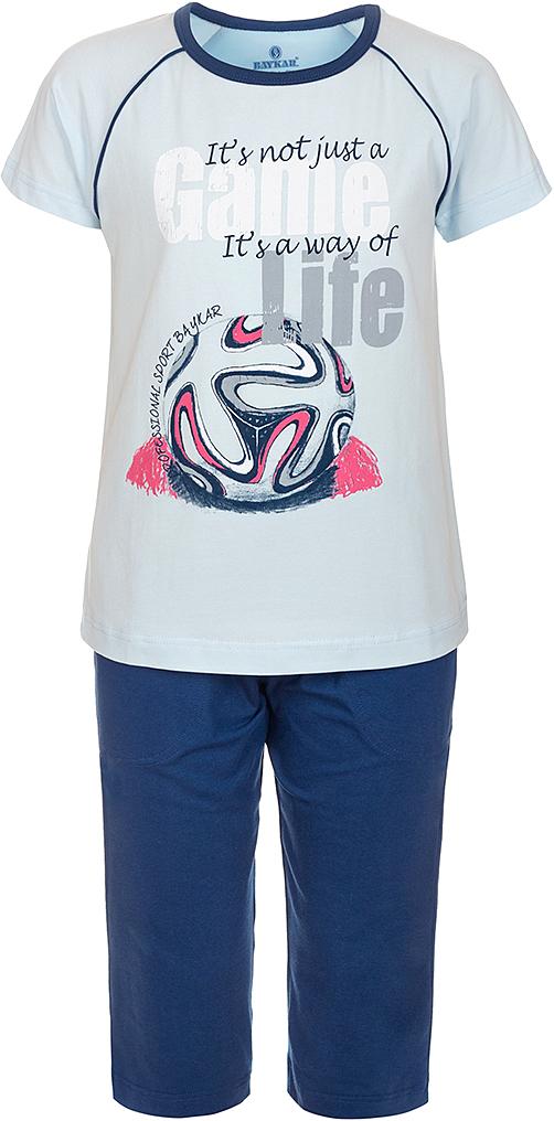Пижама для мальчика Baykar, цвет: синий, мультиколор. N9608207B-9. Размер 134/140N9608207B-9Яркая пижама для мальчика Baykar, состоящая из футболки и шортиков, идеально подойдет вашему малышу и станет отличным дополнением к детскому гардеробу. Пижама, изготовленная из натурального хлопка, необычайно мягкая и легкая, не сковывает движения ребенка, позволяет коже дышать и не раздражает даже самую нежную и чувствительную кожу малыша. Футболка с короткими рукавами и круглым вырезом горловины спереди декорирована принтом. Шортики прямого кроя однотонного цвета на широкой эластичной резинке не сдавливают животик ребенка и не сползают.В такой пижаме ваш маленький непоседа будет чувствовать себя комфортно и уютно во время сна.