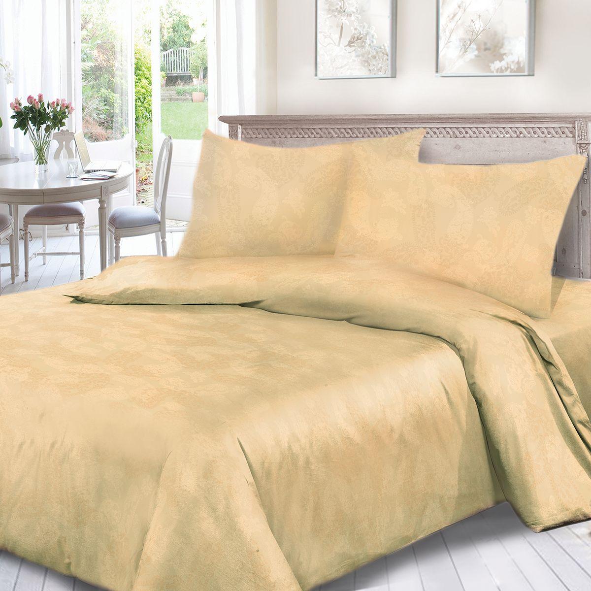 Комплект белья Сорренто Жаккард, евро, наволочки 70x70, цвет: бежевый. 3558-280276