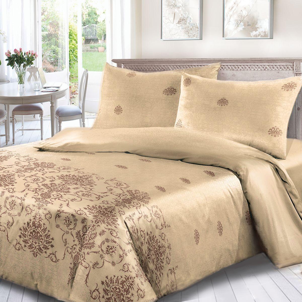 Комплект белья Сорренто Шамбала, евро, наволочки 70x70, цвет: коричневый. 4021-180282