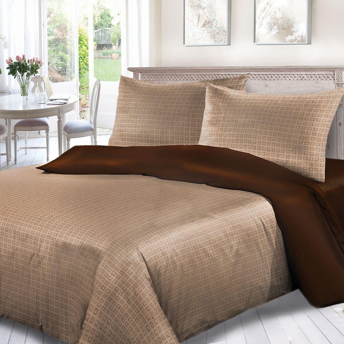 Комплект белья Сорренто Капитолий, семейный, наволочки 70x70, цвет: коричневый. 3556-280283