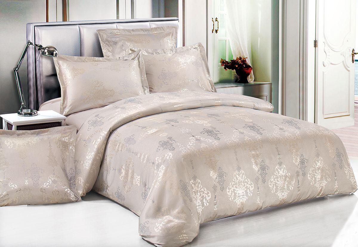 Комплект белья Versailles Беверли, евро, наволочки 50x70, цвет: серый, бежевый80549Комплект постельного белья Versailles изготовлен из сатина, сотканного из хлопка с добавлением вискозных волокон. Белье дарит приятные тактильные ощущения на протяжении всего сна, а уникальные жаккардовые узоры придают танки мягкий блеск и обеспечивают материалу особую прочность. Постельное белье Versailles - отличный подарок на любое торжество и идеальный выбор для взыскательных покупателей. Комплект состоит из пододеяльника, простыни и четырех наволочек. Состав: хлопок 70%, вискоза 30%