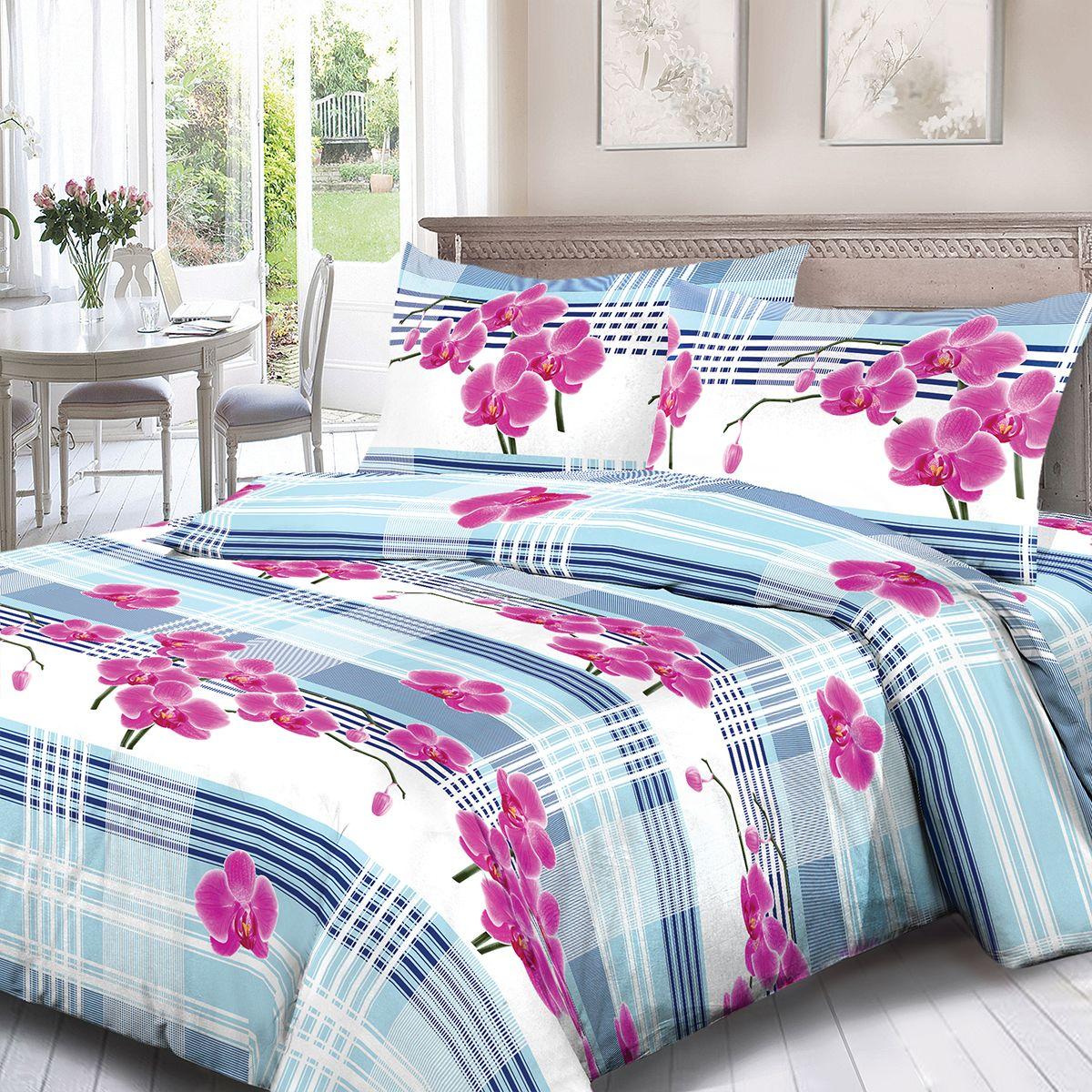 Комплект белья Для Снов Орхидея, 2-х спальное, наволочки 70x70, цвет: розовый. 3547-181978