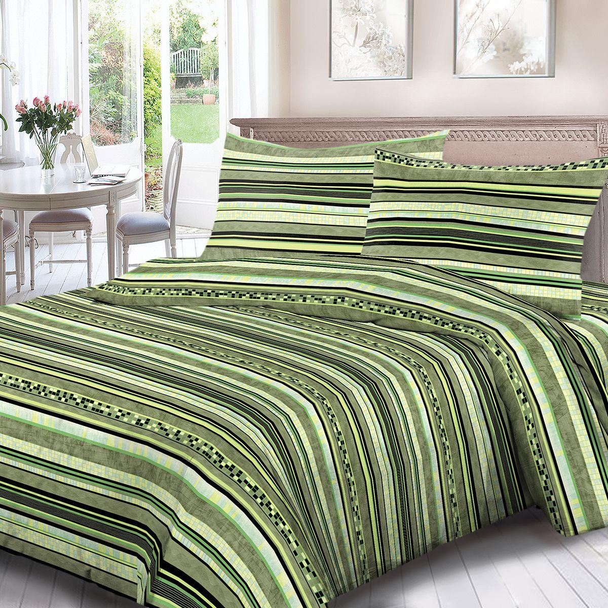 Комплект белья Для Снов Шанталь, евро, наволочки 70x70, цвет: зеленый. 1680-181988