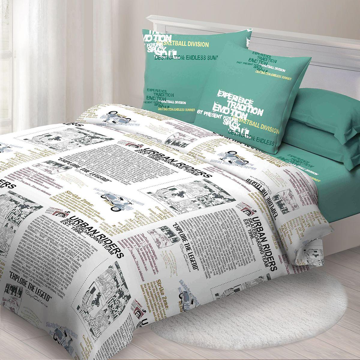 Комплект белья Спал Спалыч Новости, евро, наволочки 70x70, цвет: белый, бирюзовый. 1629-1 комплект постельного белья 1 5 спал спалыч рис 4084 1 карамель