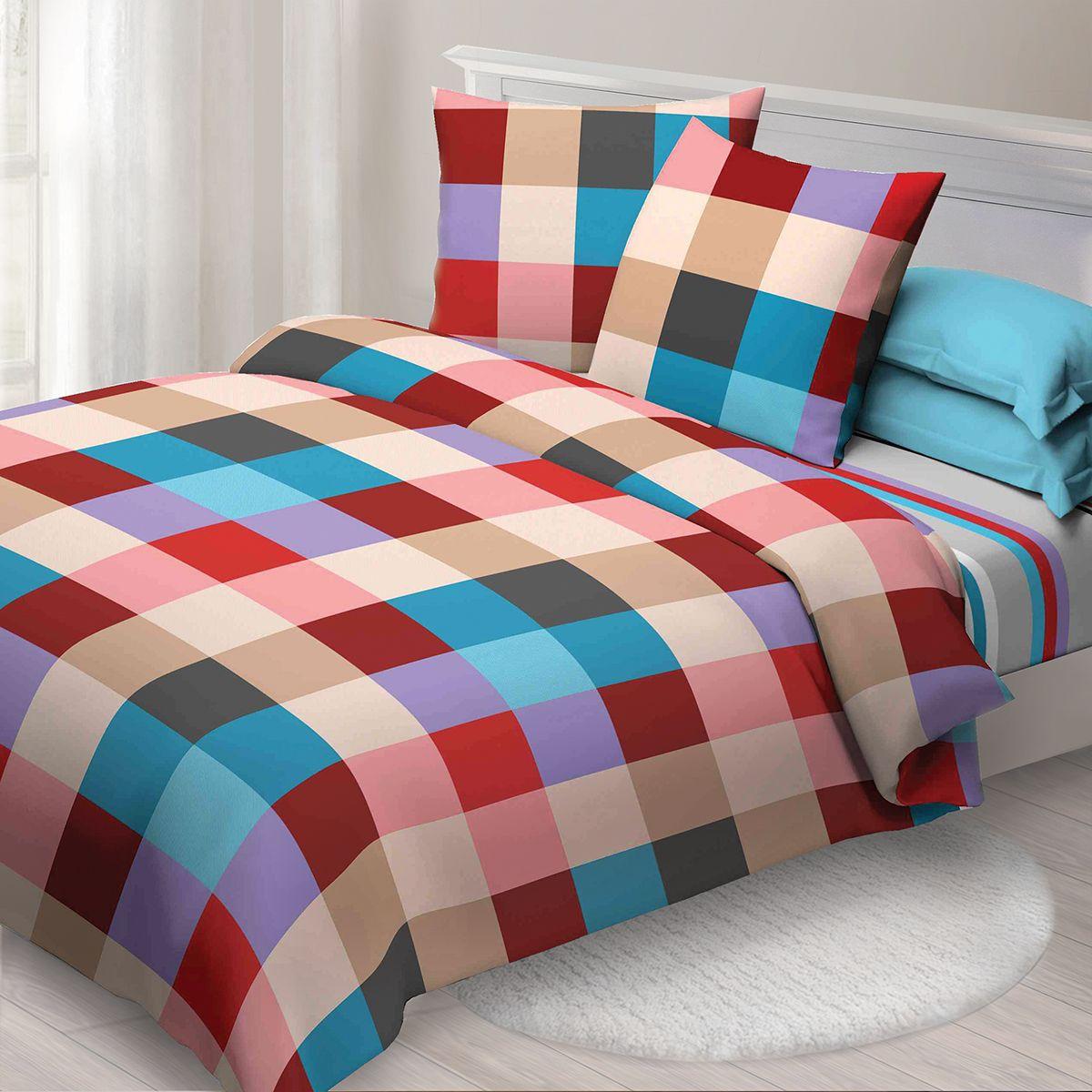 Комплект белья Спал Спалыч Рэйчел, евро, наволочки 70x70, цвет: бордовый. 4082-182466