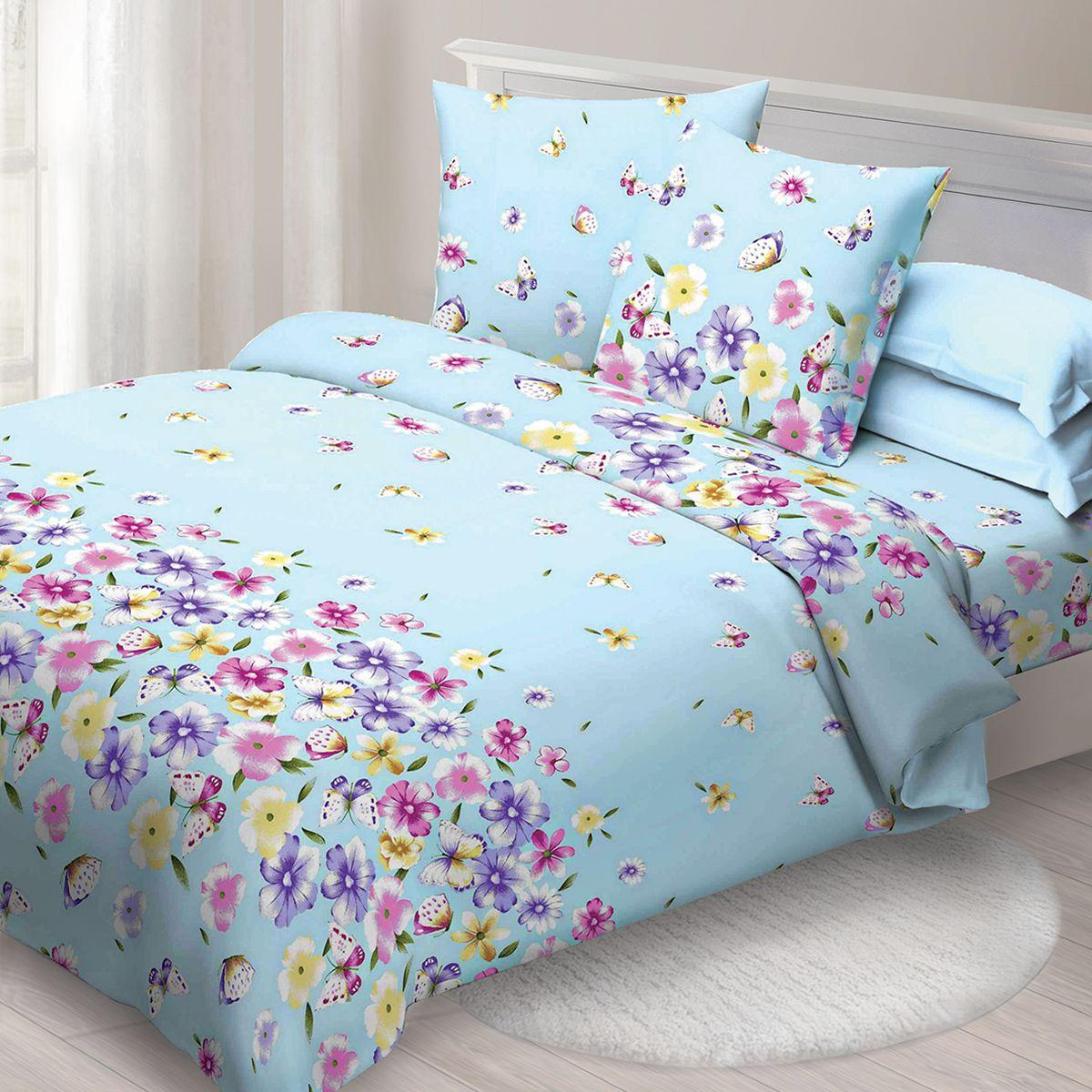 Комплект белья Спал Спалыч Летний день, евро, наволочки 70x70, цвет: голубой. 1271-182473