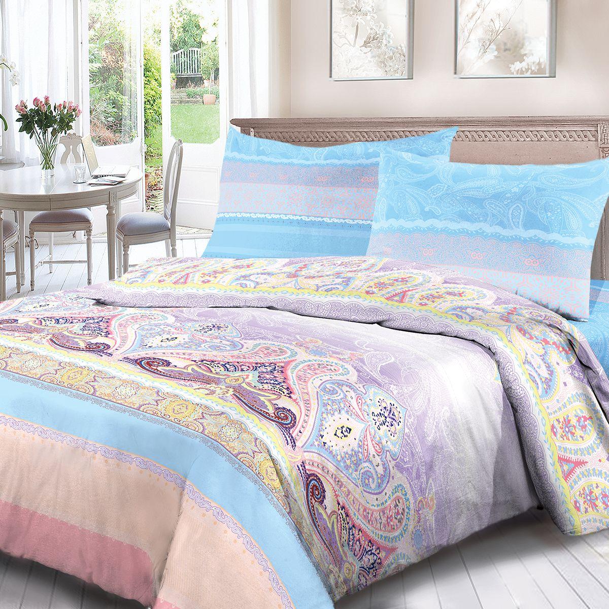 Комплект белья Для Снов Дива, 2-х спальное, наволочки 70x70, цвет: сиреневый. 4063-183523