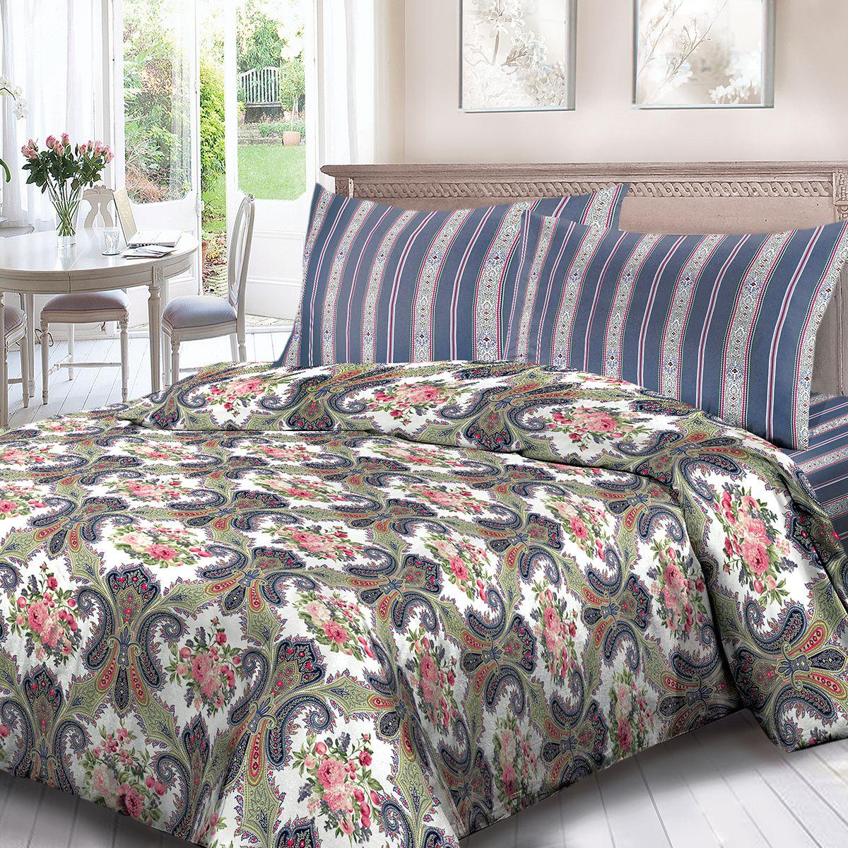 Комплект белья Для Снов Клэр, 2-х спальное, наволочки 70x70, цвет: синий. 1705-183759