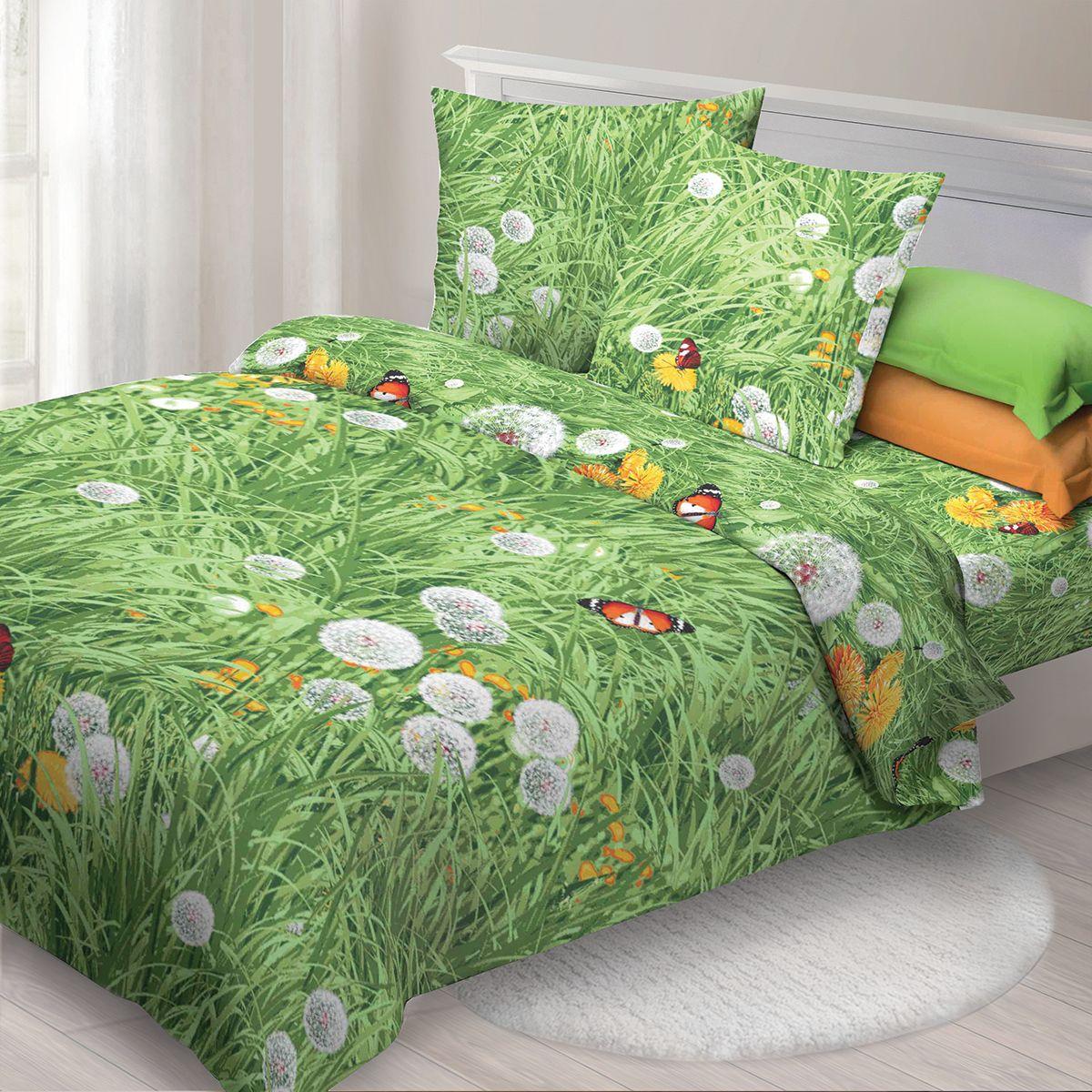 Комплект белья Спал Спалыч Одуванчики, евро, наволочки 70x70, цвет: зеленый. 3619-184199
