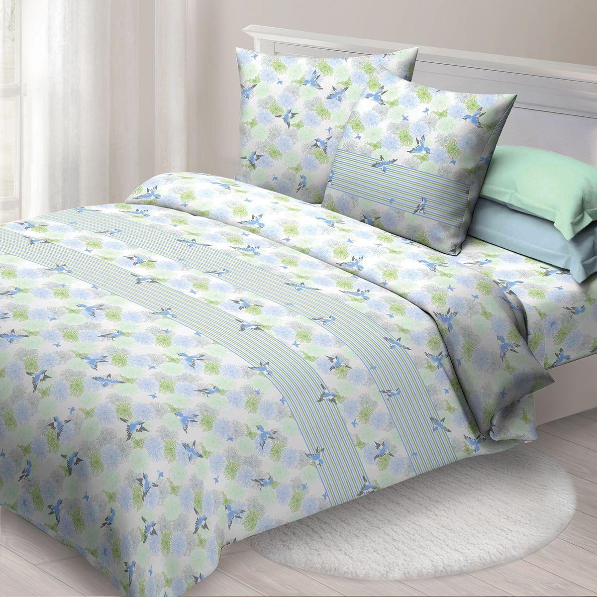 Комплект белья Спал Спалыч Ариана, евро, наволочки 70x70, цвет: голубой. 4085-284201
