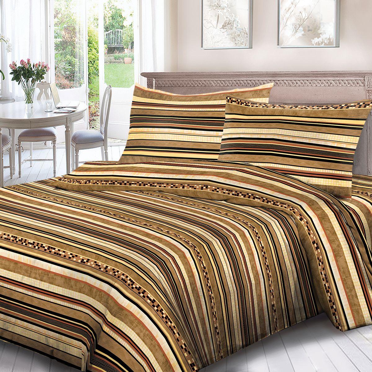 Комплект белья Для Снов Шанталь, евро, наволочки 70x70, цвет: коричневый. 1680-284385