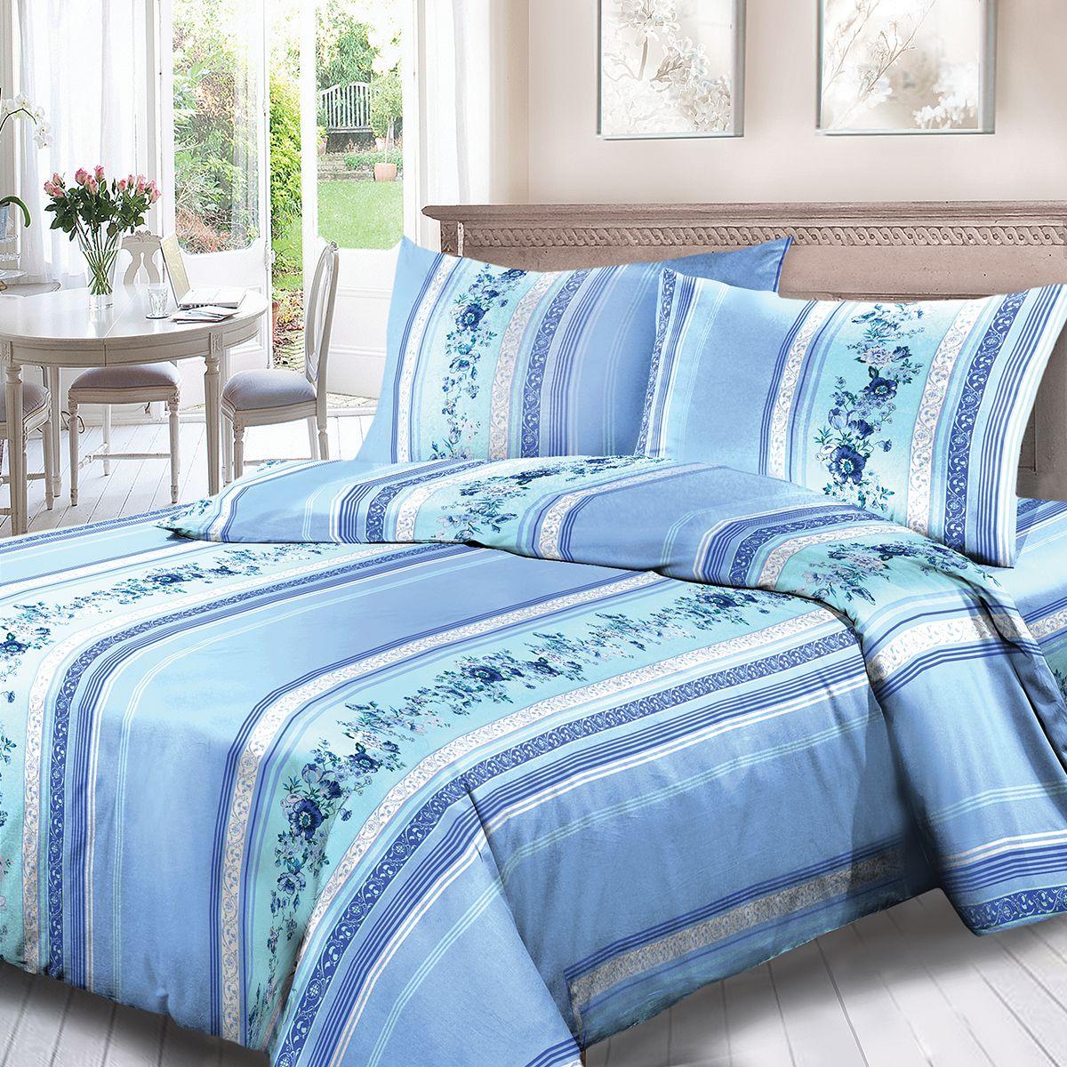 Комплект белья Для Снов Анабэль, 1,5-спальное, наволочки 70x70, цвет: голубой84451Постельное белье из высококачественного поплина ( Ткань Традиция) , в составе которого находится только 100% мерсеризованный хлопок - это идеальный выбор современной женщины. Мерсеризация подчеркивает лучшие свойства хлопка:- Ткань прочнее обычной, при этом мягкая и шелковистая;- Цвета яркие и устойчивые;- Высокая гигроскопичность;- Меньше мнется, не линяет и не садится при многократных стирках;При производстве используются только безопасные красители ведущего швейцарского производителя BEZEMAКоллекция отличается тщательно проработанными современными дизайнами, разделенными на тематические группы. Созданные талантливыми европейскими и российскими художниками, они поражают своей нежной красотой, а восхитительная упаковка придает комплекту подарочный вид. Плотность ткани: 110 г/м.кв.