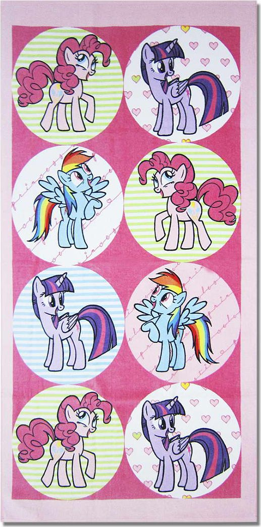 Bravo Полотенце детское Пони 60 x 120 см 108984487Мягкое хлопковое полотенце Bravo Пони подарит вам и вашей дочурке мягкость и необыкновенный комфорт в использовании. Полотенце украшено изображением обаятельных пони из мультфильма My Little Pony. Красочное изображение любимого героя и невероятная мягкость полотенца обязательно приведут в восторг вашего ребенка и превратят любое купание в веселую и увлекательную игру. Ткань не вызывает аллергических реакций, обладает высокой гигроскопичностью и воздухопроницаемостью. Полотенце великолепно впитывает влагу и не теряет своих свойств после многократной стирки. Порадуйте себя и своего ребенка таким замечательным подарком! Режим стирки: при 40°С.