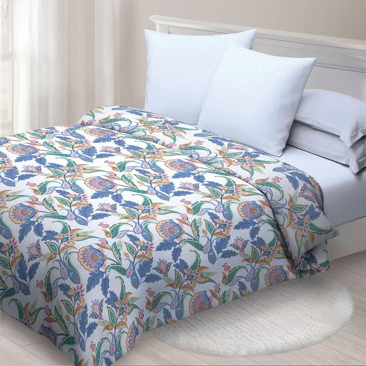 Комплект белья Спал Спалыч Индира, 2-х спальное, наволочки 70x70, цвет: синий. 4091-185083