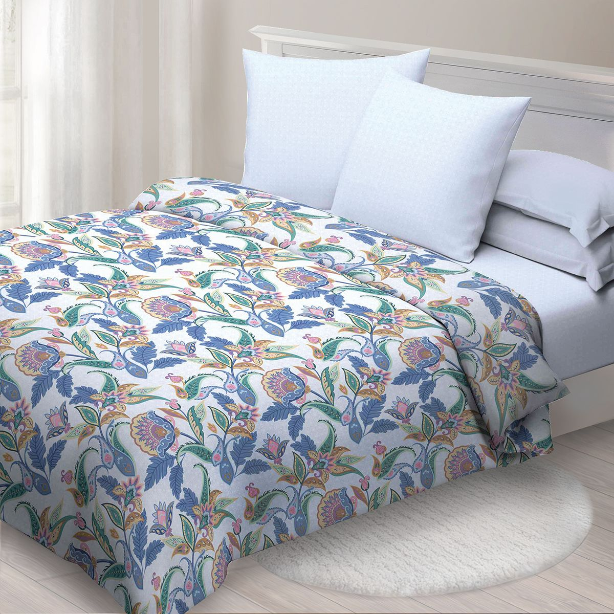 Комплект белья Спал Спалыч Индира, евро, наволочки 70x70, цвет: синий. 4091-185088