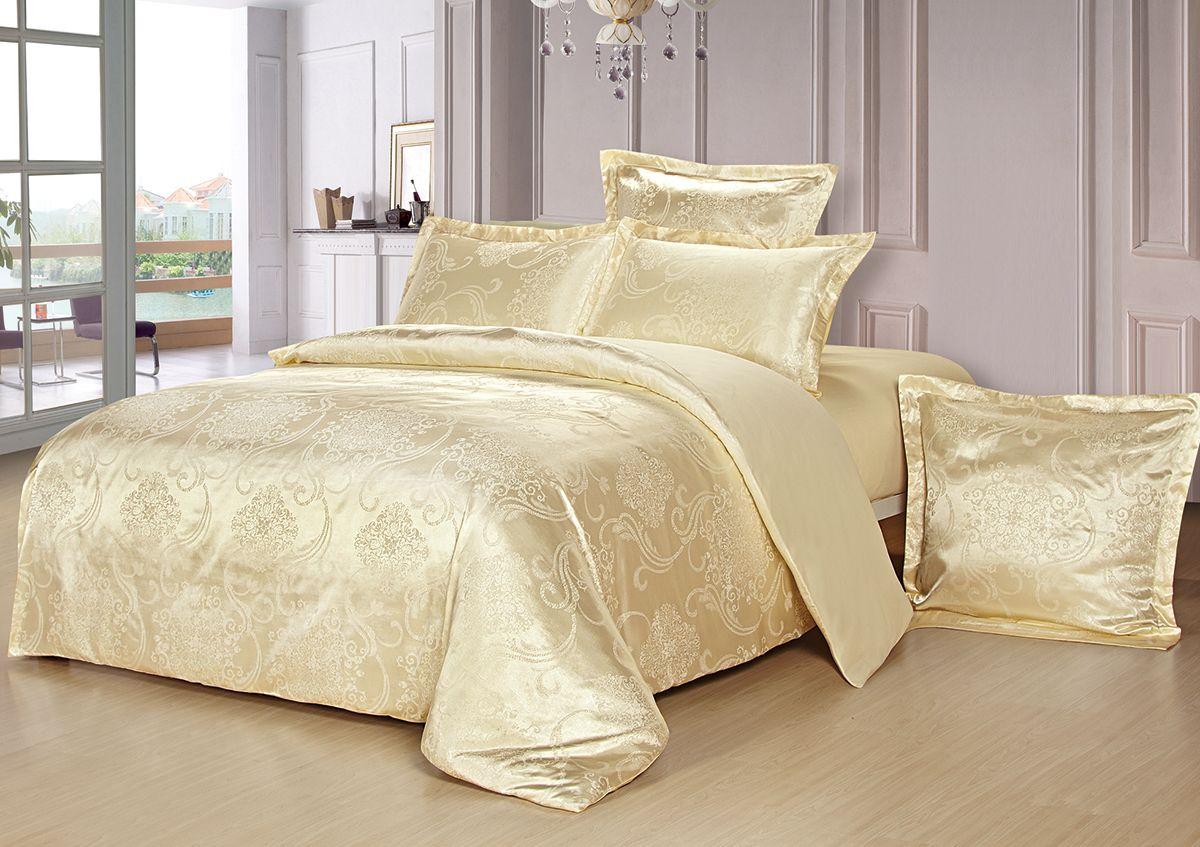 Комплект белья Versailles Монро, 2-спальный, наволочки 50x70, цвет: желтый85461Комплект постельного белья Versailles изготовлен из сатина, сотканного из хлопка с добавлением вискозных волокон. Белье дарит приятные тактильные ощущения на протяжении всего сна, а уникальные жаккардовые узоры придают танки мягкий блеск и обеспечивают материалу особую прочность. Постельное белье Versailles - отличный подарок на любое торжество и идеальный выбор для взыскательных покупателей. Комплект состоит из пододеяльника, простыни и двух наволочек. Состав: хлопок 70%, вискоза 30%