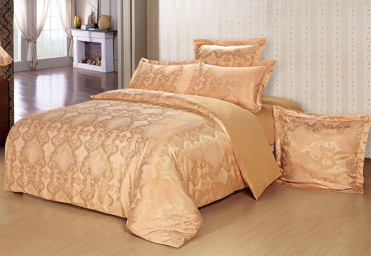 Комплект белья Versailles Берти, евро, наволочки 50x70, цвет: золотой85470Комплект постельного белья Versailles изготовлен из сатина, сотканного из хлопка с добавлением вискозных волокон. Белье дарит приятные тактильные ощущения на протяжении всего сна, а уникальные жаккардовые узоры придают танки мягкий блеск и обеспечивают материалу особую прочность. Постельное белье Versailles - отличный подарок на любое торжество и идеальный выбор для взыскательных покупателей. Комплект состоит из пододеяльника, простыни и четырех наволочек. Состав: хлопок 70%, вискоза 30%