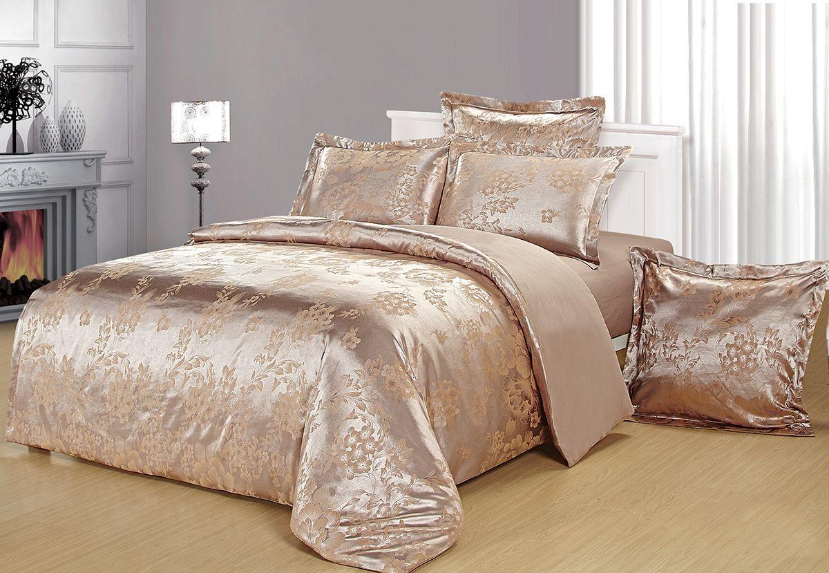 Комплект белья Versailles Данита, евро, наволочки 50x70, цвет: золотой85474Комплект постельного белья Versailles изготовлен из сатина, сотканного из хлопка с добавлением вискозных волокон. Белье дарит приятные тактильные ощущения на протяжении всего сна, а уникальные жаккардовые узоры придают танки мягкий блеск и обеспечивают материалу особую прочность. Постельное белье Versailles - отличный подарок на любое торжество и идеальный выбор для взыскательных покупателей. Комплект состоит из пододеяльника, простыни и четырех наволочек. Состав: хлопок 70%, вискоза 30%