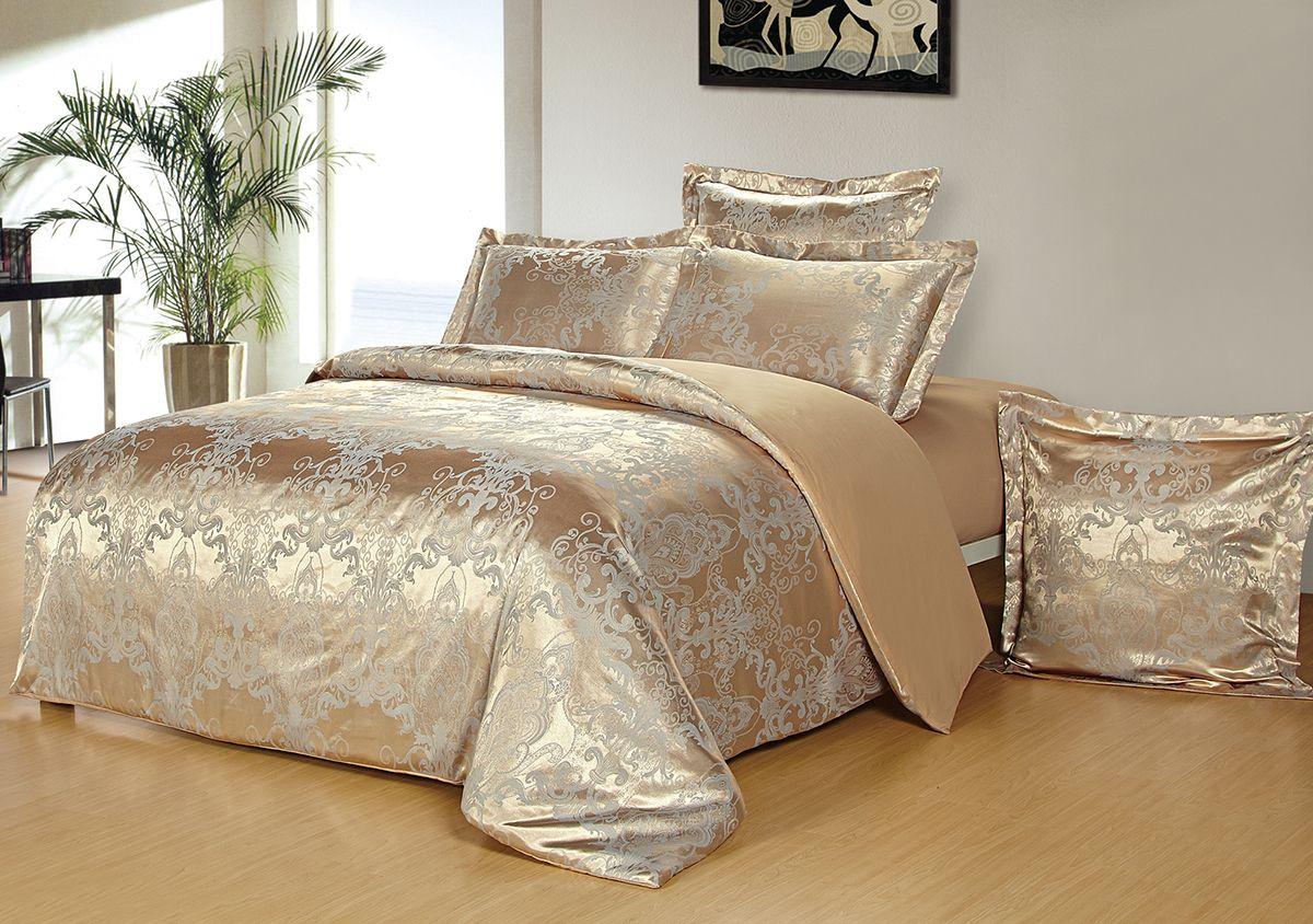 Комплект белья Versailles Алетея, евро, наволочки 50x70, цвет: золотой85478Комплект постельного белья Versailles изготовлен из сатина, сотканного из хлопка с добавлением вискозных волокон. Белье дарит приятные тактильные ощущения на протяжении всего сна, а уникальные жаккардовые узоры придают танки мягкий блеск и обеспечивают материалу особую прочность. Постельное белье Versailles - отличный подарок на любое торжество и идеальный выбор для взыскательных покупателей. Комплект состоит из пододеяльника, простыни и четырех наволочек. Состав: хлопок 70%, вискоза 30%