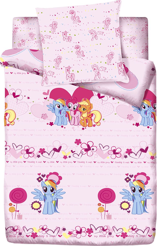 Комплект детского постельного белья Пони Романтика, 1,5-спальный, наволочки 70x7085794Комплект детского постельного белья, состоящий из наволочки, простыни и пододеяльника, выполнен из натурального 100% хлопка. Комплект оформлен изображениями ярких симпатичных пони. Хлопок - это натуральный материал, который не раздражает даже самую нежную и чувствительную кожу малыша, не вызывает аллергии и хорошо вентилируется. Такое белье прослужит долго и выдержит много стирок.