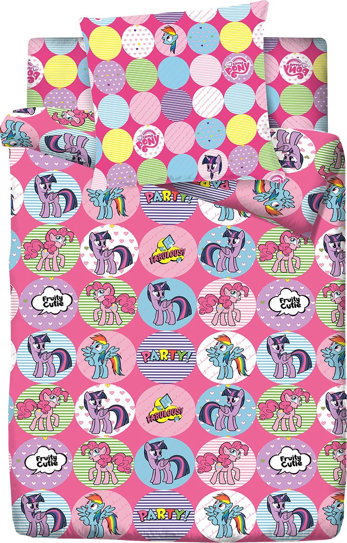 Комплект белья Пони Дружба, 1,5 спальное, наволочки 70x70, цвет: розовый. 4088-185795