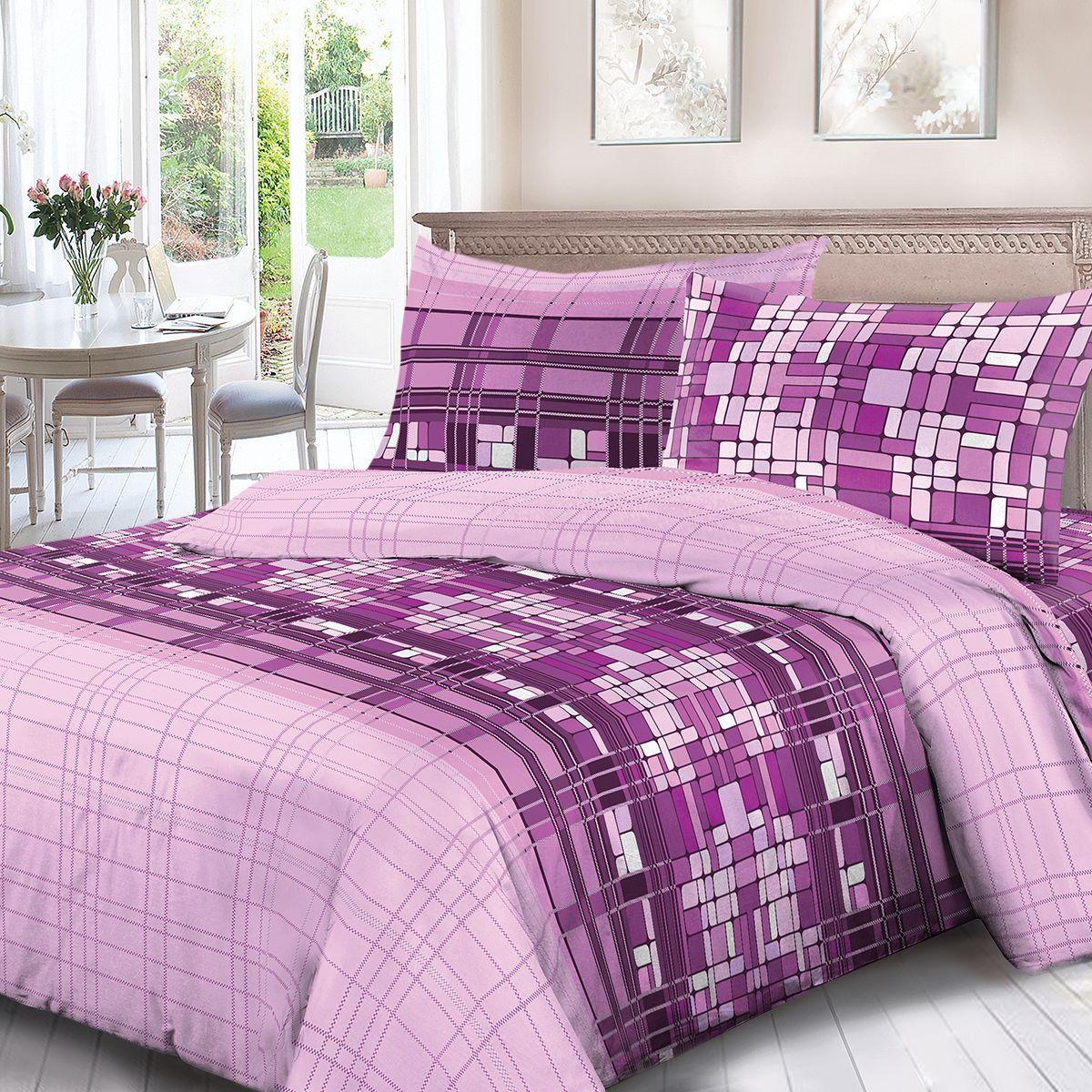 Комплект белья Для Снов Монпансье, 2-х спальное, наволочки 70x70, цвет: сиреневый. 4072-186459