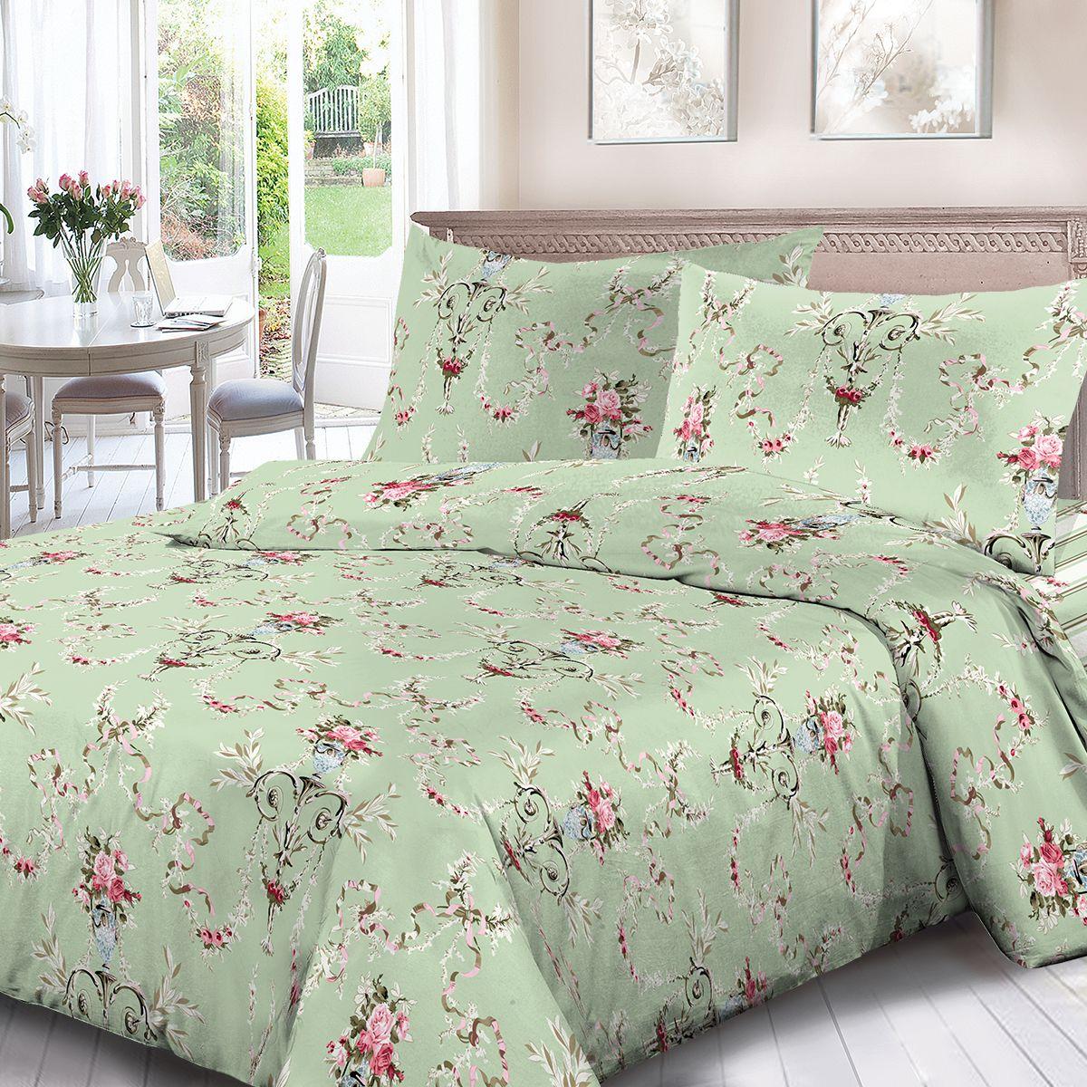 Комплект белья Для Снов Катарина, евро, наволочки 70x70, цвет: зеленый. 1841-286462