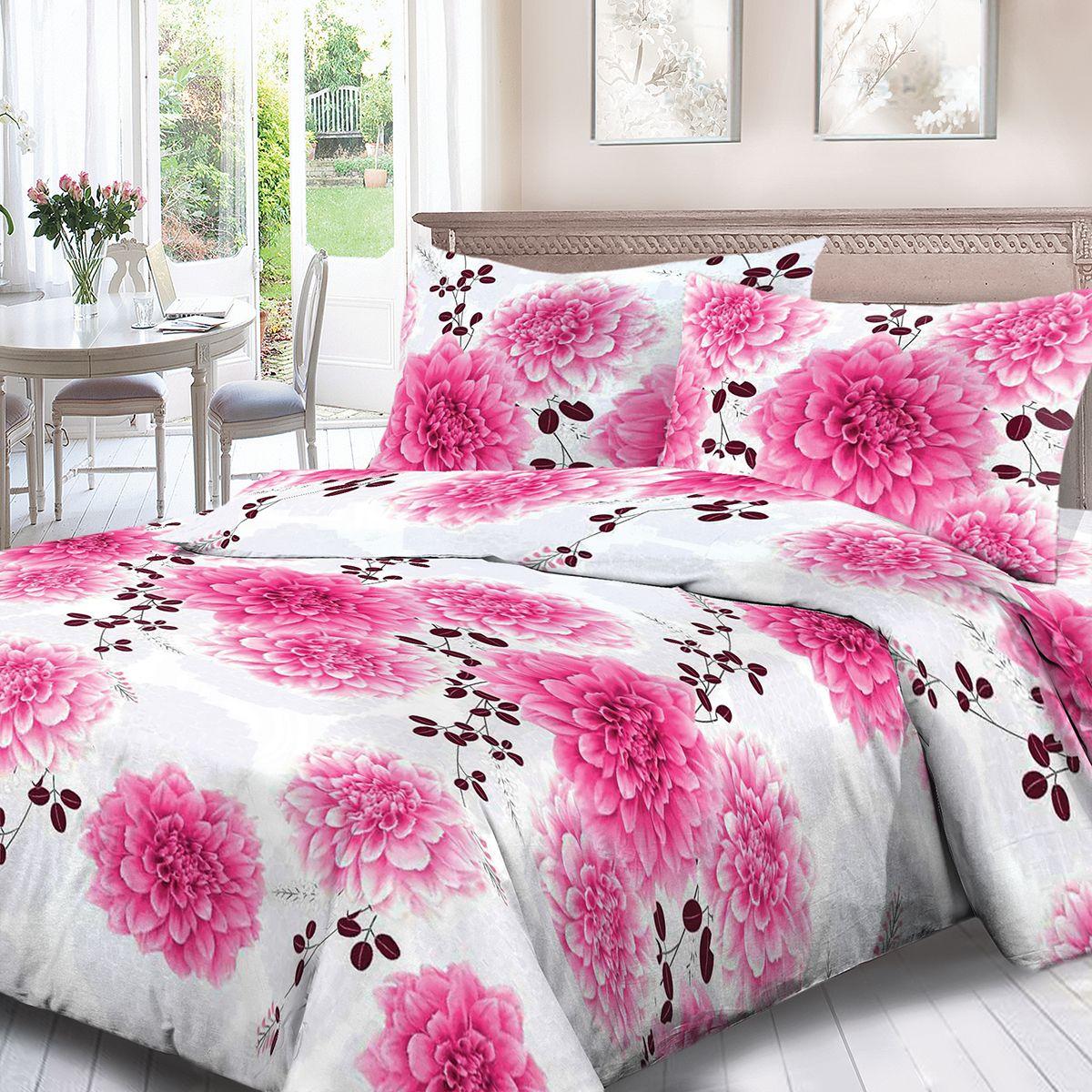 Комплект белья Для Снов Флер, 1,5-спальное, наволочки 70x70, цвет: розовый86481Постельное белье из высококачественного поплина ( Ткань Традиция) , в составе которого находится только 100% мерсеризованный хлопок - это идеальный выбор современной женщины. Мерсеризация подчеркивает лучшие свойства хлопка:- Ткань прочнее обычной, при этом мягкая и шелковистая;- Цвета яркие и устойчивые;- Высокая гигроскопичность;- Меньше мнется, не линяет и не садится при многократных стирках;При производстве используются только безопасные красители ведущего швейцарского производителя BEZEMAКоллекция отличается тщательно проработанными современными дизайнами, разделенными на тематические группы. Созданные талантливыми европейскими и российскими художниками, они поражают своей нежной красотой, а восхитительная упаковка придает комплекту подарочный вид. Плотность ткани: 110 г/м.кв.